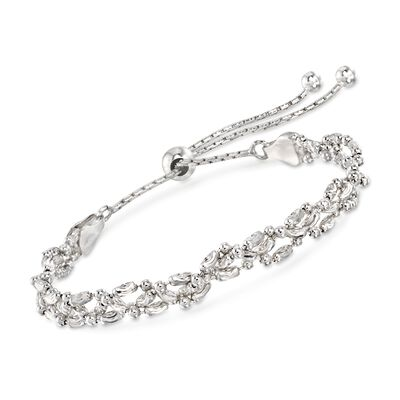 Italian Sterling Silver Diamond-Cut Braided Bead Bolo Bracelet, , default