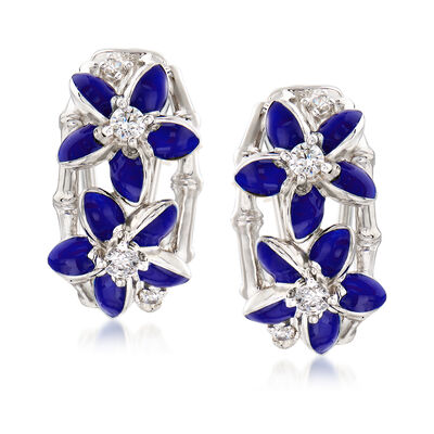 "Belle Etoile ""Leilani"" Blue Enamel and .34 ct. t.w. CZ Flower Hoop Earrings in Sterling Silver"