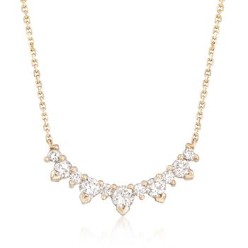 ".70 ct. t.w. Diamond Necklace in 14kt Yellow Gold. 16"", , default"