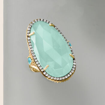 Aqua Chalcedony and .70 ct. t.w. Blue and White Topaz Ring in 18kt Gold Over Sterling, , default