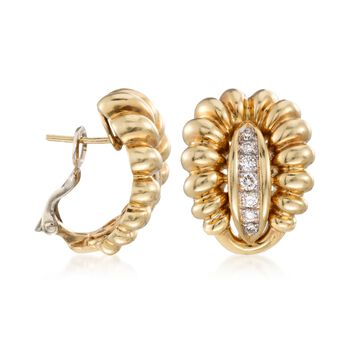 C. 1980 Vintage .60 ct. t.w. Diamond Ribbed Earrings in 18kt Yellow Gold , , default