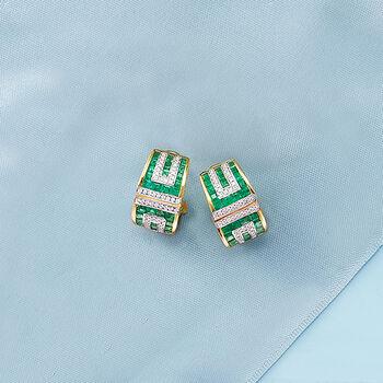 3.00 ct. t.w. Emerald and .41 ct. t.w. Diamond Geometric Drop Earrings in 18kt Gold, , default