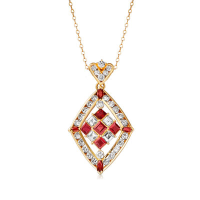 C. 1980 Vintage 3.20 ct. t.w. Diamond and 2.15 ct. t.w. Ruby Necklace in 14kt and 18kt Yellow Gold, , default