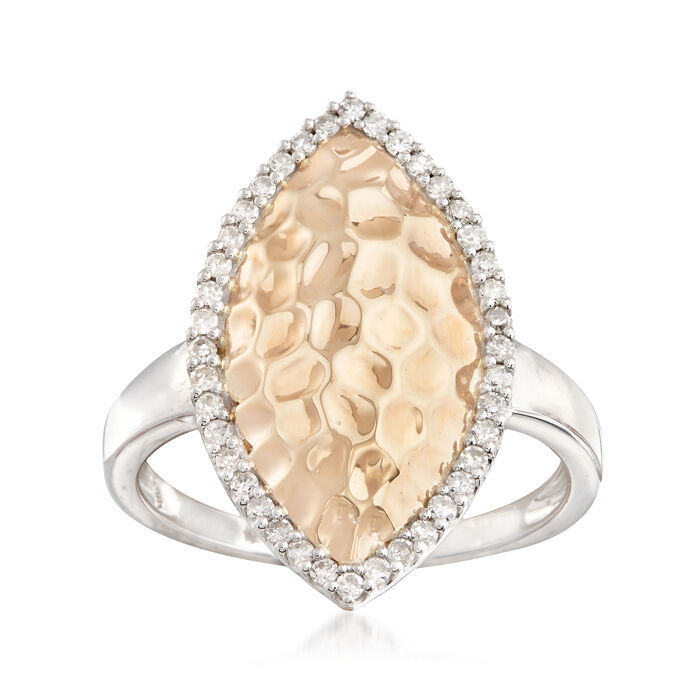 .25 ct. t.w. Diamond and 14kt Two-Tone Gold Textured Marquise Ring