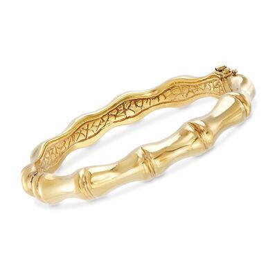 Italian 18kt Yellow Gold Over Sterling Silver Bamboo Bangle Bracelet, , default