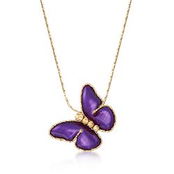 "Italian Purple Ceramic Butterfly Necklace in 14kt Yellow Gold. 18"", , default"