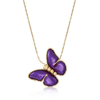 """Italian Purple Ceramic Butterfly Necklace in 14kt Yellow Gold. 18"""", , default"""