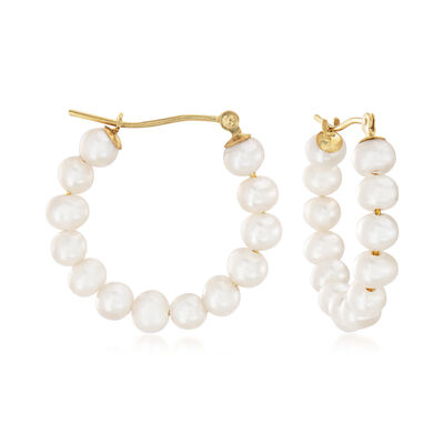 4-5mm Cultured Pearl Hoop Earrings in 14kt Yellow Gold, , default