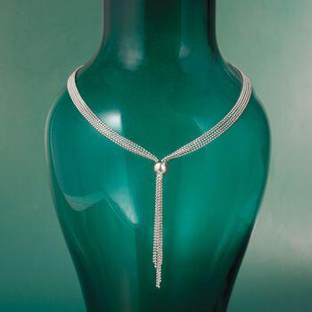Italian Sterling Silver Bead Chain Tassel Necklace, , default