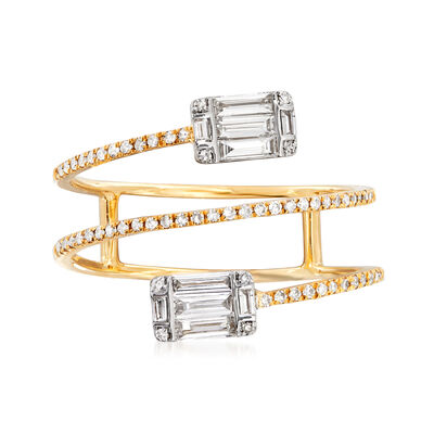 .47 ct. t.w. Baguette and Round Diamond Wrap Ring in 18kt Yellow Gold, , default