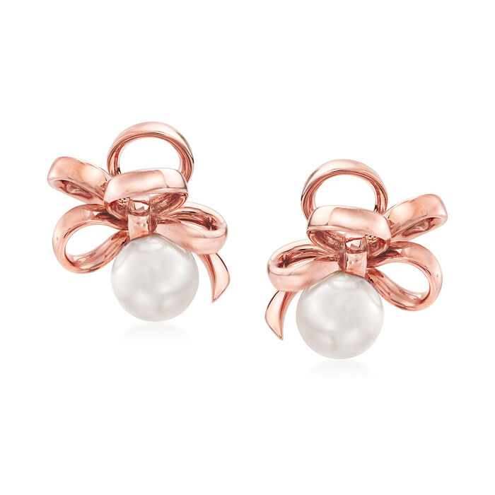 "Mikimoto ""Ribbon"" 7.5mm A+ Akoya Pearl Earrings in 18kt Rose Gold"