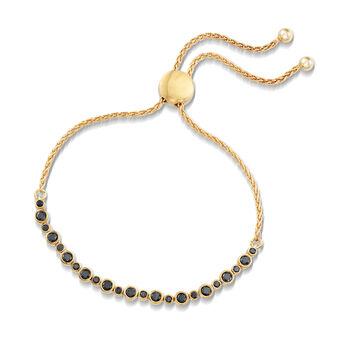 1.00 ct. t.w. Bezel-Set Black Diamond Bolo Bracelet in 18kt Yellow Gold Over Sterling