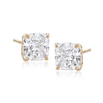 6.00 ct. t.w. Asscher-Cut CZ Stud Earrings in 14kt Yellow Gold, , default
