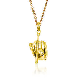 """14kt Yellow Gold 3-D Glove Bat and Ball Baseball Pendant With 18""""  Necklace, , default"""