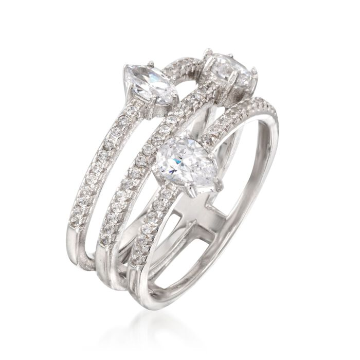 1.48 ct. t.w. CZ Three-Row Ring in Sterling Silver