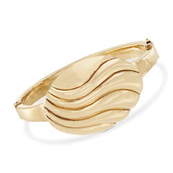 Italian 14kt Yellow Gold Wavy Oval Top Bangle Bracelet, , default