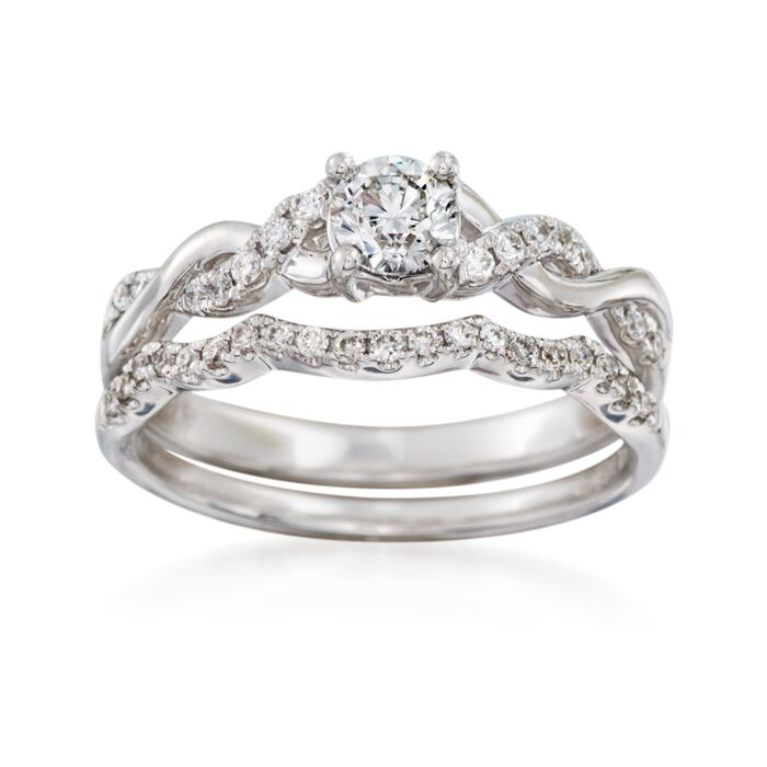 .62 ct. t.w. Diamond Bridal Set: Engagement and Wedding Rings in 14kt White Gold, , default