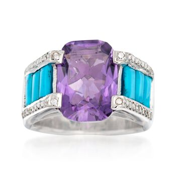 7.00 Carat Amethyst and Turquoise Ring With White Zircons in Sterling Silver, , default