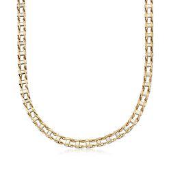 Men's 14kt Two-Tone Gold Railroad-Link Necklace, , default