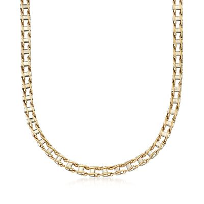 Men's 14kt Two-Tone Gold Railroad-Link Necklace, , default