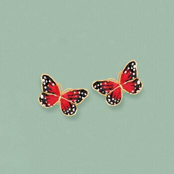 Italian Multicolored Enamel Butterfly Stud Earrings in 18kt Yellow Gold