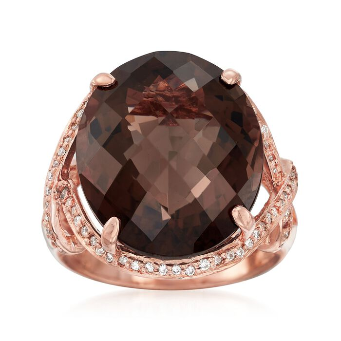 C. 1990 Vintage 15.75 Carat Smoky Quartz and .25 ct. t.w. Diamond Ring in 14kt Rose Gold. Size 7, , default