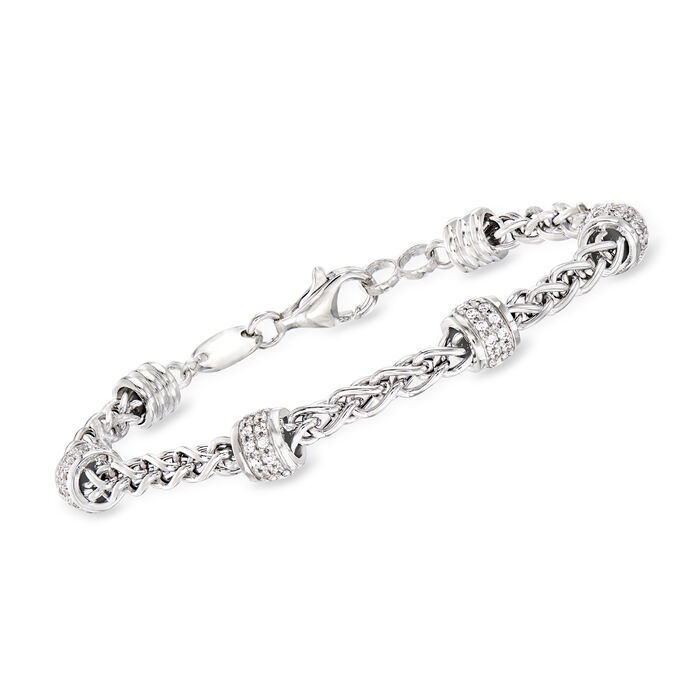 "Charles Garnier ""Paolo"" .86 ct. t.w. CZ Beaded Station Bracelet in Sterling Silver. 7.75"", , default"