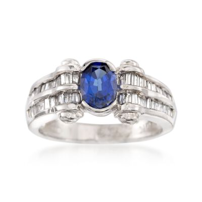 C. 1990 Vintage 1.00 Carat Sapphire and .55 ct. t.w. Diamond Ring in 14kt White Gold, , default