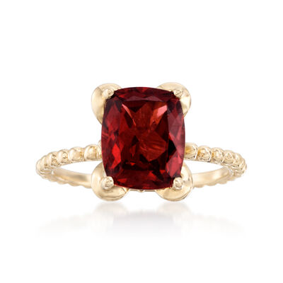 3.70 Carat Cushion-Cut Garnet Ring in 14kt Yellow Gold, , default