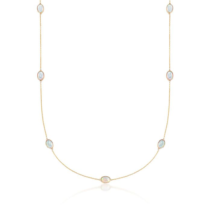 Oval Ethiopian Opal Station Necklace in 14kt Yellow Gold, , default
