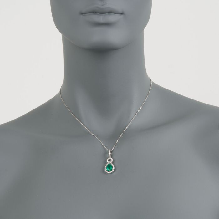 """1.85 Carat Emerald and .40 ct. t.w. Diamond Necklace in 14kt White Gold. 16"""", , default"""