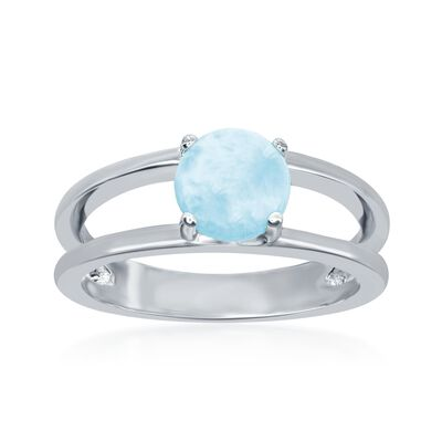 Larimar Open Space Ring in Sterling Silver, , default