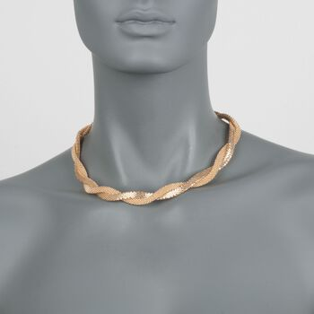 Italian 18kt Gold Over Sterling Silver Twisted Mesh Necklace, , default