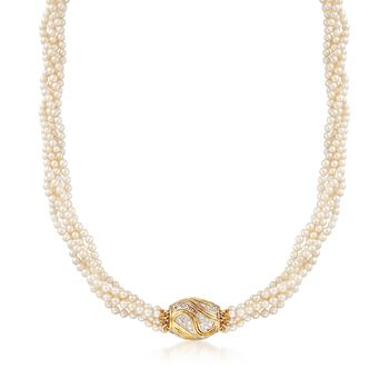 """C. 1980 Vintage 3-3.5mm Cultured Pearl Five-Strand Necklace With .60 ct. t.w. Diamond Station in 14kt Gold. 18.5"""", , default"""