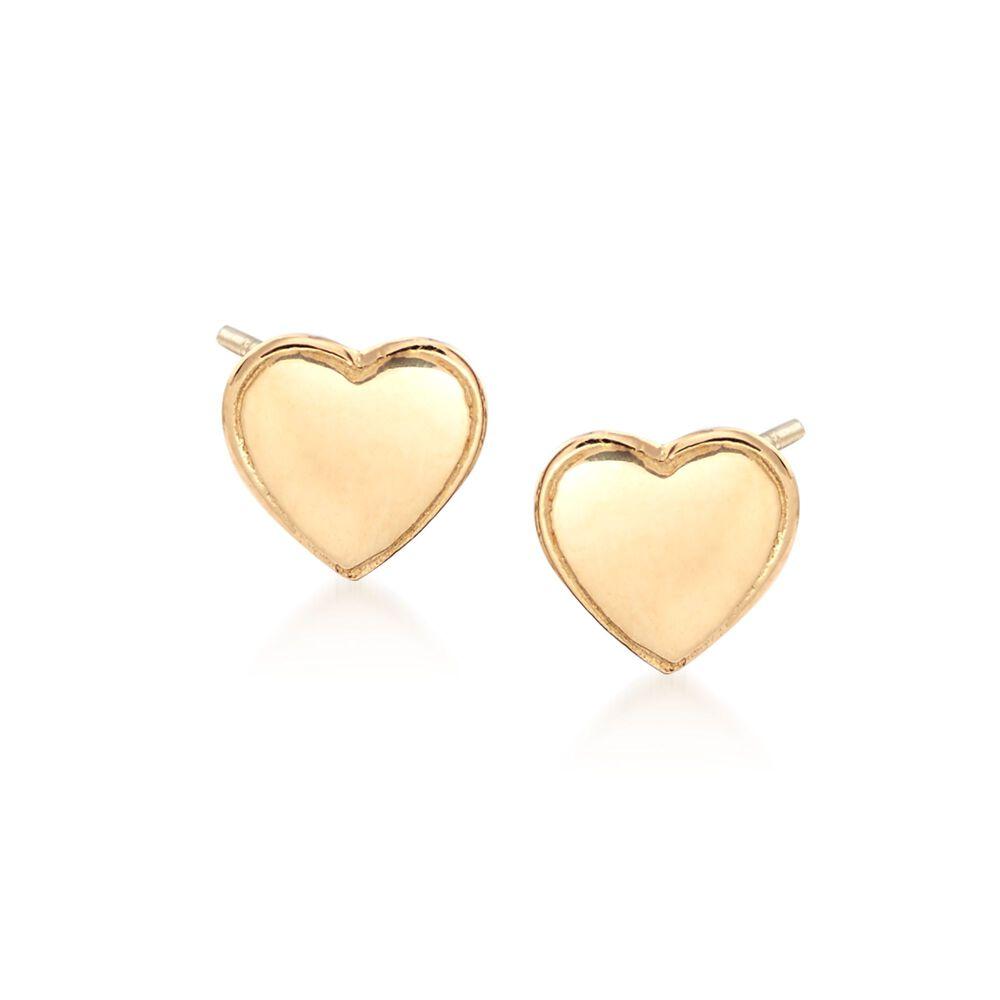 18kt Yellow Gold Heart Stud Earrings Default