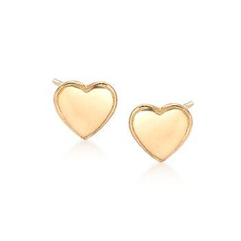 18kt Yellow Gold Heart Stud Earrings , , default