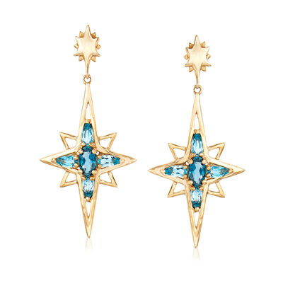 1.40 ct. t.w. Blue Topaz Star Drop Earrings in 14kt Yellow Gold, , default