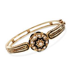 C. 1970 Vintage .55 ct. t.w. Diamond Bangle Bracelet With Black Enamel in 14kt Yellow Gold  , , default