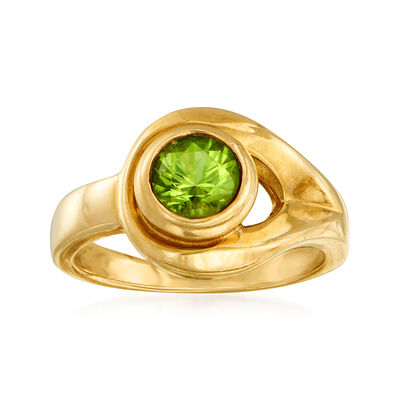C. 1990 Vintage 1.00 Carat Peridot Ring in 14kt Yellow Gold