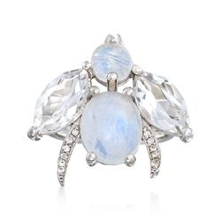 Moonstone and 2.90 ct. t.w. Rock Crystal Bee Ring With White Topaz Accents in Sterling Silver, , default