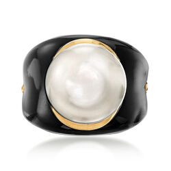 13.5mm Cultured Pearl and Black Agate Ring in 14kt Yellow Gold, , default