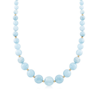 6-14mm Graduated Aquamarine Bead Necklace with 14kt Yellow Gold, , default