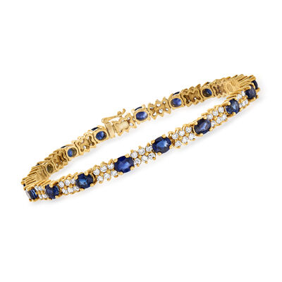 C. 1990 Vintage 8.50 ct. t.w. Sapphire and 2.55 ct. t.w. Diamond Bracelet in 18kt Yellow Gold, , default