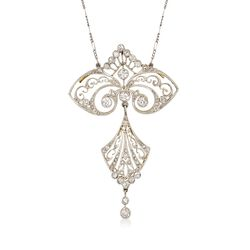 C. 1910 Vintage 1.70 ct. t.w. Diamond Filigree Pin Pendant Necklace in Platinum and 18kt Gold, , default