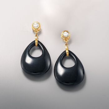 Black Agate and White Topaz Drop Earrings in 14kt Yellow Gold, , default