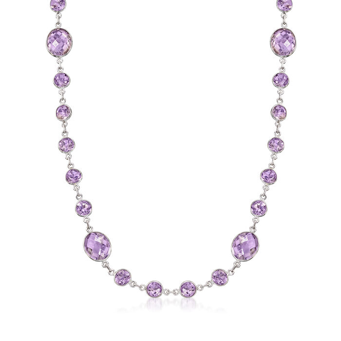 50.00 ct. t.w. Amethyst Necklace in Sterling Silver, , default