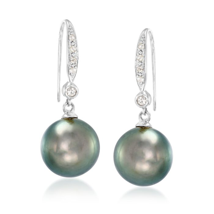 9-10mm Black Cultured Tahitian Pearl and .10 ct. t.w. Diamond Drop Earrings in 14kt White Gold, , default