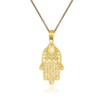 """14kt Yellow Gold Hand of God Pendant Necklace. 18"""", , default"""