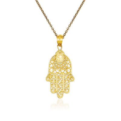 14kt Yellow Gold Hand of God Pendant Necklace, , default