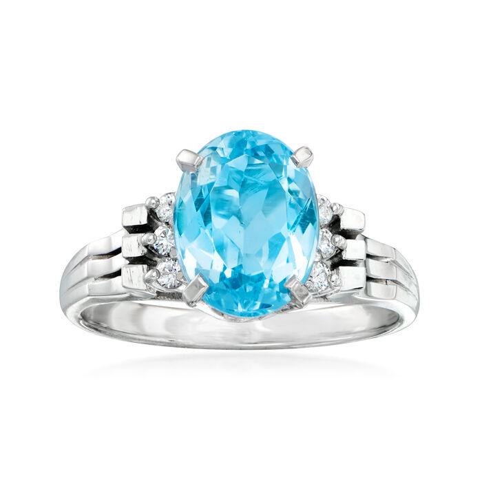C. 2000 Vintage 2.00 Aquamarine Ring with Diamond Accents in Platinum